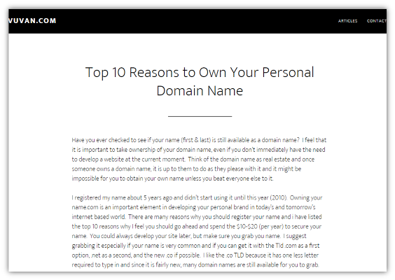 Top 10 Reasons to Own Your Personal Domain Name